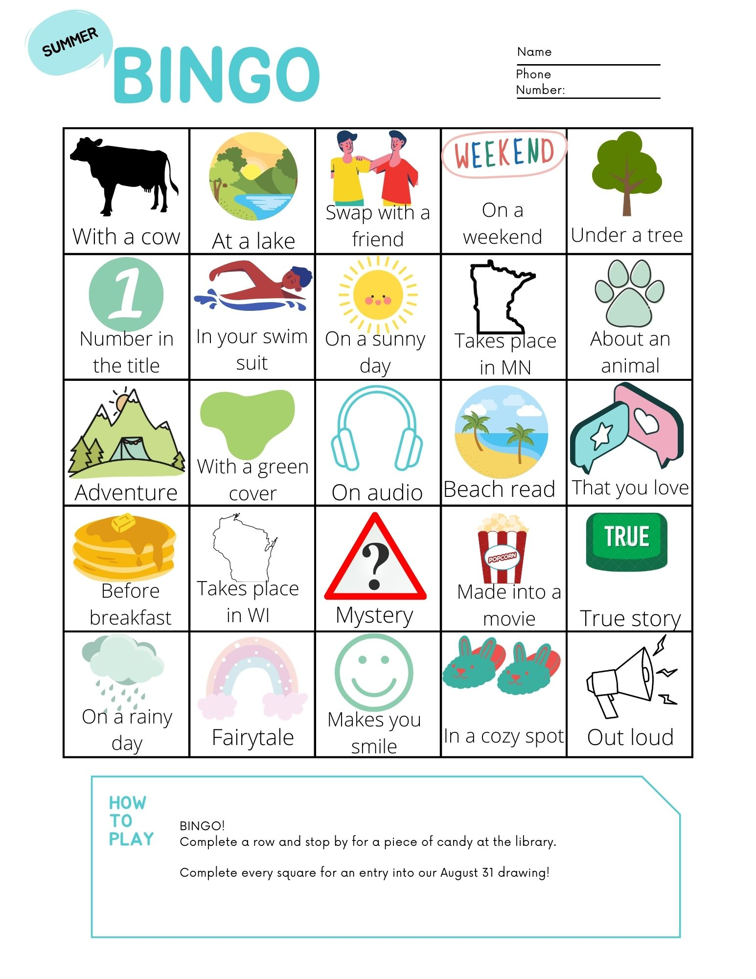 Summer Reading Bingo Sheet